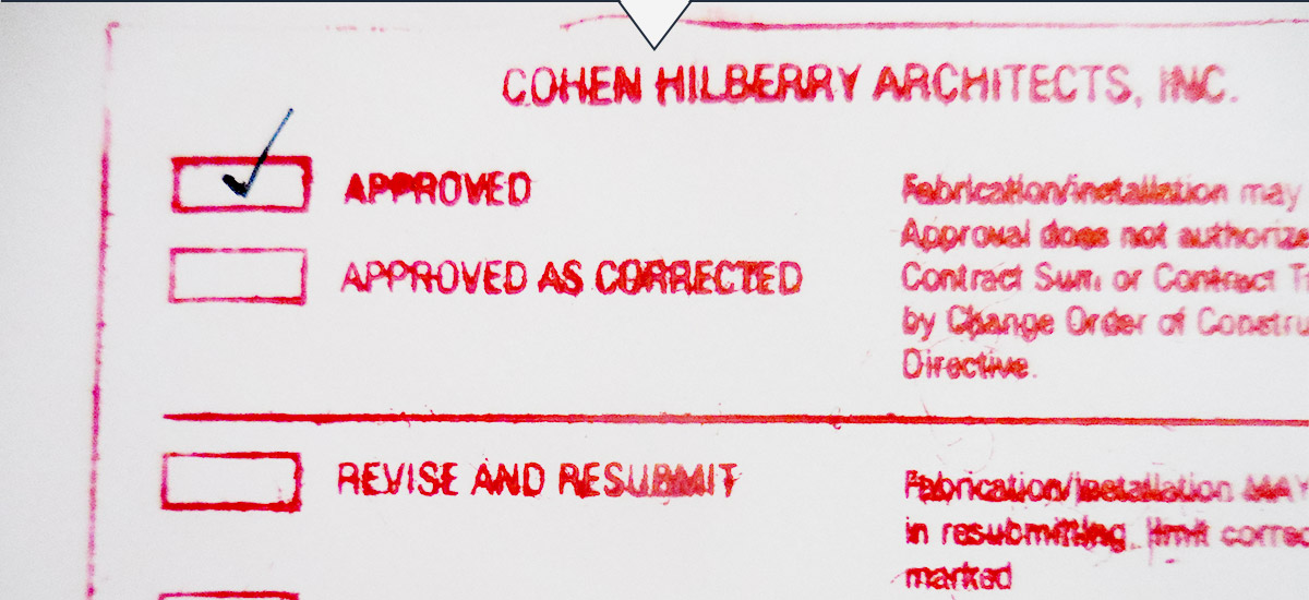 Standard Cohen Hilberry submittal form used as part of construction administration services.