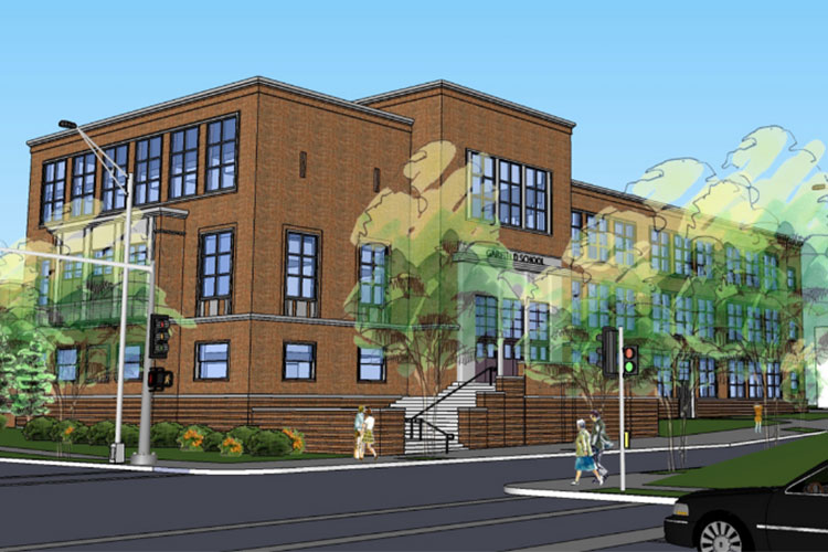 Institutional Projects. Computer rendering of northeast corner of Garfield Commons, showing the historic school entrance.
