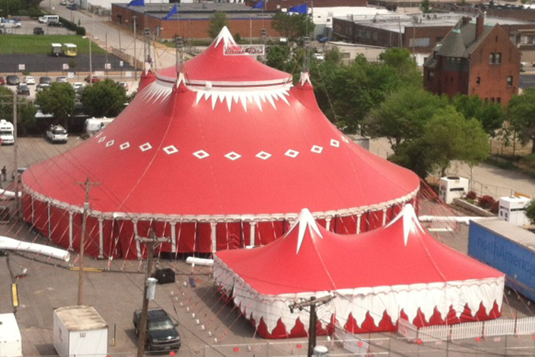 Institutional Projects. Bird's eye view of Circus Flora tents. Photo courtesy of the Saint Louis Symphony Orchestra.